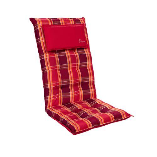 Coussin de chaise de jardin -Blumfeldt Sylt -120 x 50 x9 cm -1 pièce -Carreaux Rouges