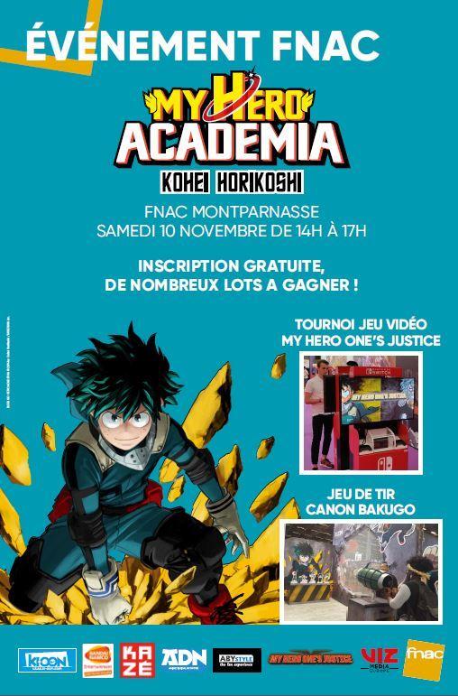 2443385009a9f La FNAC Montparnasse a le plaisir de vous inviter à l évènement PLUS ULTRA  avec My Hero One s Justice le samedi 10 novembre de 14h à 17h !