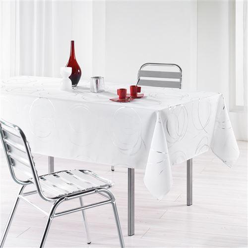 Nappe en polyester Argent Bully blanc 150 x 240 cm