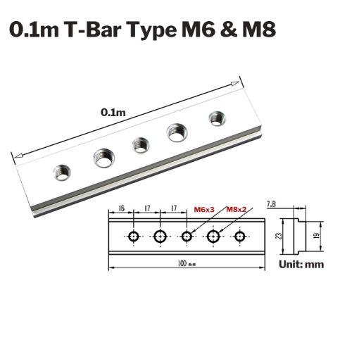 Alliage d'aluminium T-Bar Carpenter Manual Router Table Curseur en T 100 mm + filetage