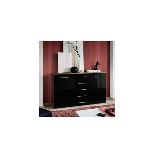 Paris Prix - Buffet 2 Portes Design fox 150cm Noir & Prunier