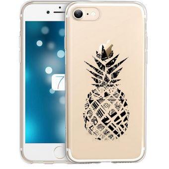 Coque Iphone 6 6S ananas geometrique noir transparente