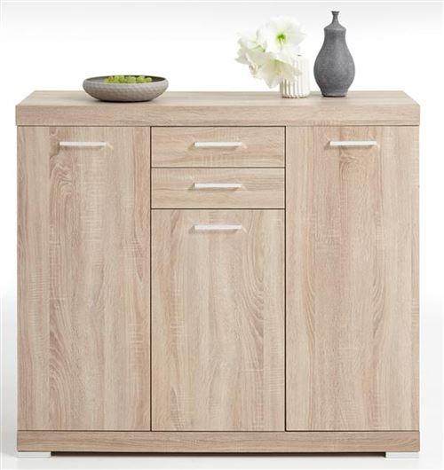 Buffet coloris chêne en bois - 120 x 90 x 50 cm -PEGANE-