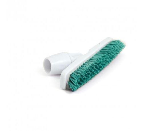 Balai brosse vert avec adaptateur coudé pour manche Jantex -