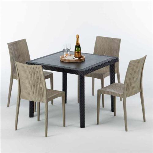 Table Carrée Noire 90x90cm Avec 4 Chaises Colorées Grand Soleil Set Extérieur Bar Café BISTROT PASSION, Couleur: Beige