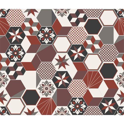 Crédence adhésive carreaux en aluminium Exa - L. 20 x l. 20 cm - Rouge - Design CPM - Exa