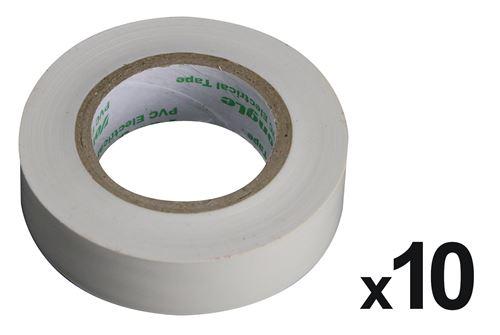 Lot de 10 rouleaux adhésifs 15mm x 10m Blanc