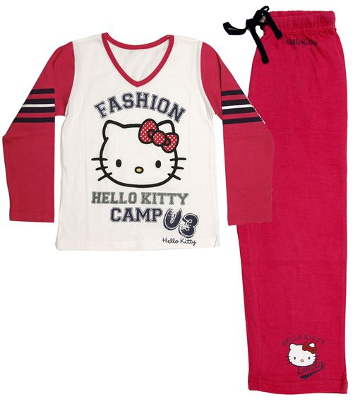 Hello Kitty pyjama fille en coton rouge/blanc