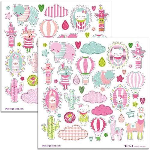 80 stickers rose Joséphine