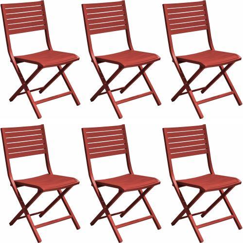 Proloisirs - Chaises pliantes en aluminium Lucca (Lot de 6) Rouge