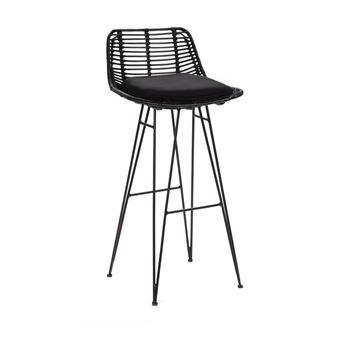 Chaise De Bar Design En Rotin 75cm Capurgana Couleur Noir
