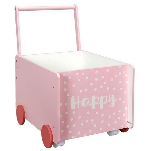 The Home Deco Kids - Bac de rangement chariot pour enfant Rose - Happy