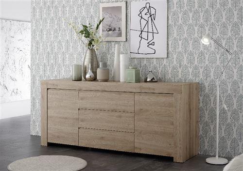 SUBLEEM Buffet 184cm 2 portes 3 tiroirs en bois Giarre chene noyer clair