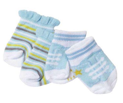 2 paires de chaussettes baby born bleues + blanche - zapf creation - accessoire poupon ref:404