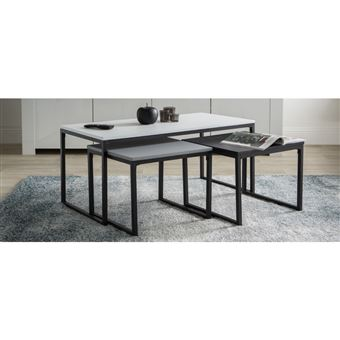 tables basses gigognes noir gris et blanc laques mates avec pieds metal lot de 3 trioz