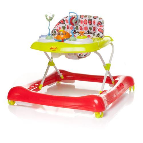 Trotteur avec panneau interactif avec jouets STEPS - max 12 kg - rouge