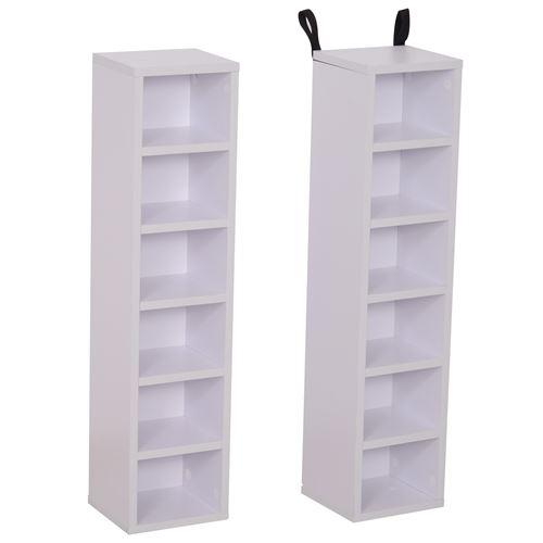 Lot de 2 étagères colonnes armoire de rangement CD-DVD 6 + 6 compartiments dim. 21L x 19l x 88H cm capacité max. 204 CD blanc