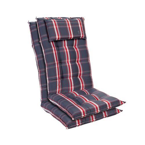 Coussin de chaise de jardin -Blumfeldt Sylt -120 x 50 x9 cm -2 pièces -Gris / Rouge