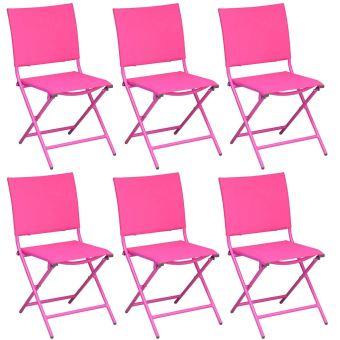 Chaise Pliante En Acier Et Toile Globe Lot De 6 Framboise