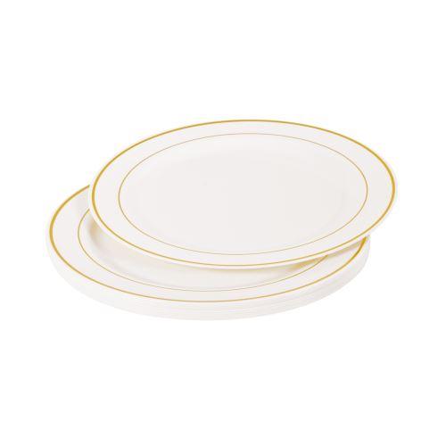 set 6 assiettes plastiques blanches ps lisere or ø19cm