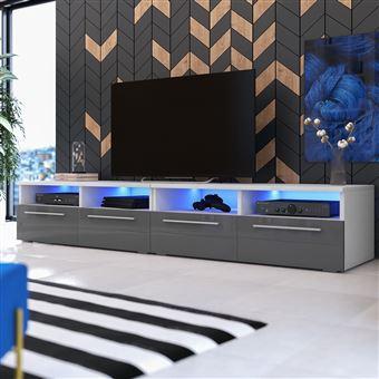 Meuble Tv Meuble Salon Phiris Double 2x100 Cm Blanc Mat Gris Brillant Avec Led Style Contemporain Meuble Tv Achat Prix Fnac