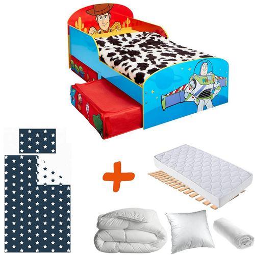 Pack complet Premium Lit Toy Story Disney= Lit+2 tiroirs+Matelas & Parure+Couette+Oreiller