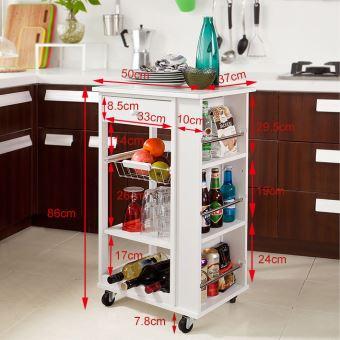 Meuble De Rangement Cuisine En Bois.Desserte A Roulettes Meuble Rangement Kitchen Trolley Chariot De Cuisine En Bois L50cmxh85cmxp37cm Blanc Fkw12 W Sobuy