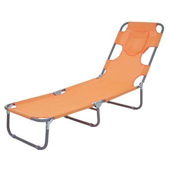Chaise Longue Jardin HWC B11 Transat Bain De Soleil Fonction Position Sur Le Ventre Tissu Pliable Orange