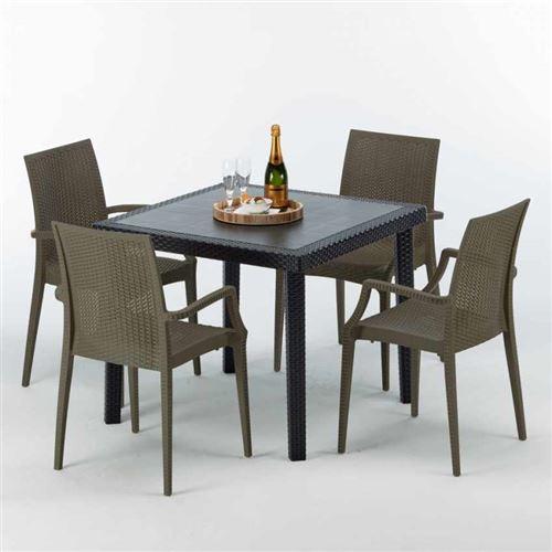 Table Carrée Noire 90x90cm Avec 4 Chaises Colorées Grand Soleil Set Extérieur Bar Café ARM BISTROT PASSION, Couleur: Marron