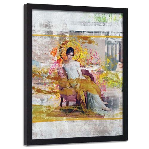 Feeby Cadre noir mural Image encadrée Tableau décoratif, Dame dans une chaise 50x70 cm