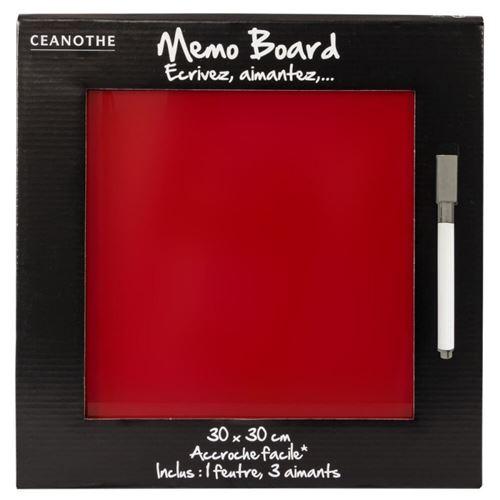 Mémo board magnétique verre rouge 30x30 cm, en verre - marque française