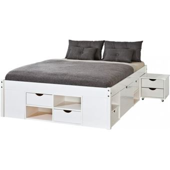 lit double 160x200 rangements tiroirs sommiers chevets. Black Bedroom Furniture Sets. Home Design Ideas