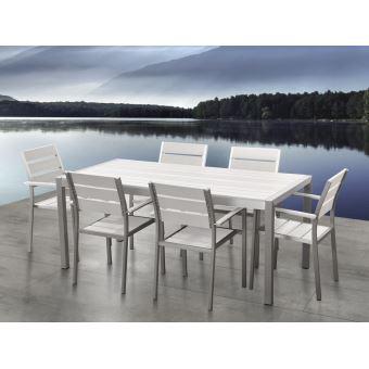 132€10 sur Beliani - Table de jardin et 6 chaises aluminium plateau ...