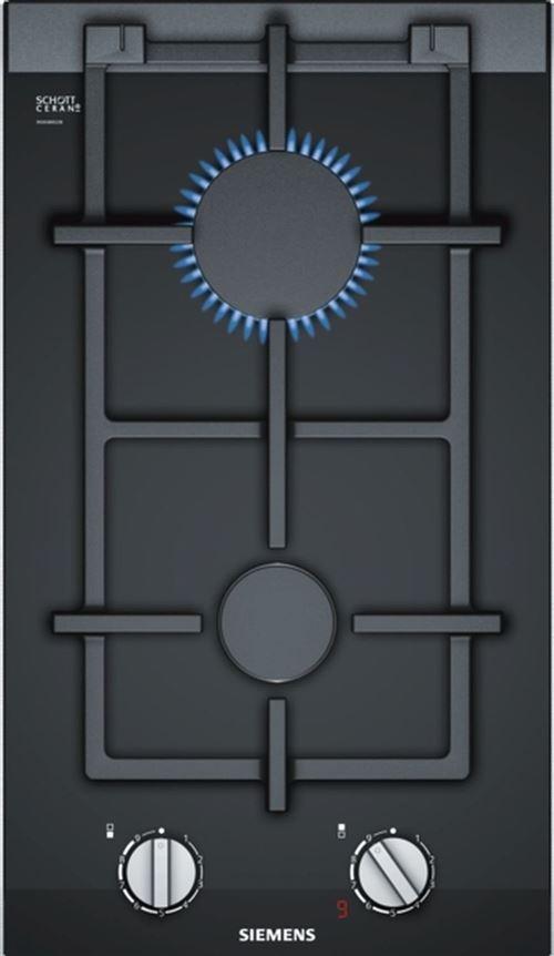 Siemens iQ700 ER3A6BD70D - Table de cuisson au gaz - 2 plaques de cuisson - Niche - largeur : 27 cm - profondeur : 49 cm - noir - avec garnitures noires, - avec garnitures en acier inoxydable - noir/inox