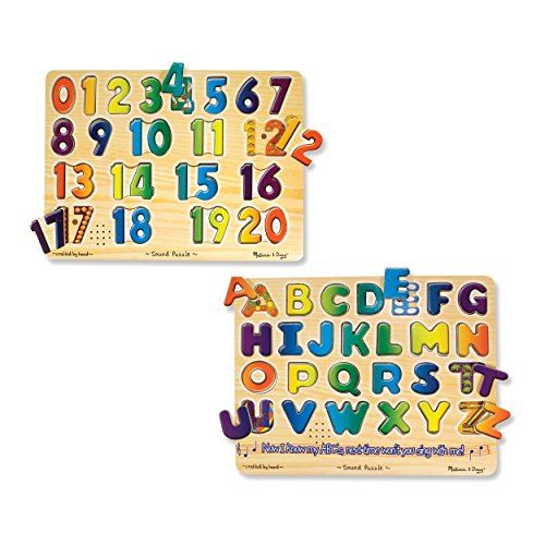 Melissa Doug Sound Puzzles Set Numbers and Alphabet - Wooden Peg Puzzles
