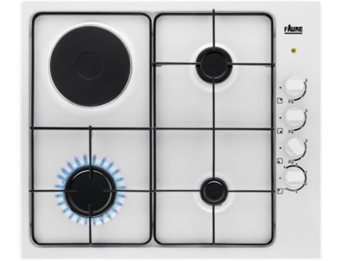 Faure FGM64300W - Table de cuisson gaz et électrique - 4 plaques de cuisson - Niche - largeur : 55 cm - profondeur : 47 cm - blanc - blanc