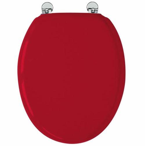 Abattant de toilette Rouge en bois compressé MDF Charnière métal Siege WC standard