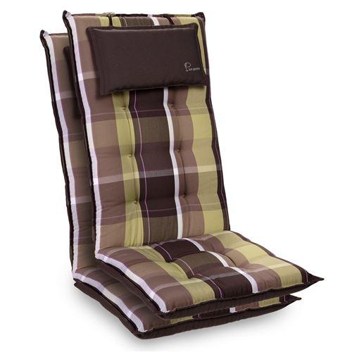 Coussin de chaise de jardin -Blumfeldt Sylt -120 x 50 x9 cm -2 pièces -Carreaux Verts