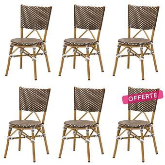 Lot 6 chaises bistrot RENE alu et polyrotin marron - Rotin ...