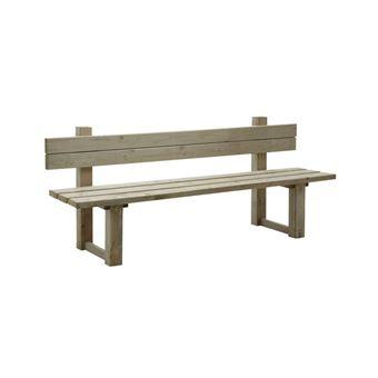 Aubry Gaspard - Banc de jardin avec dossier en bois traité autoclave vert  gris