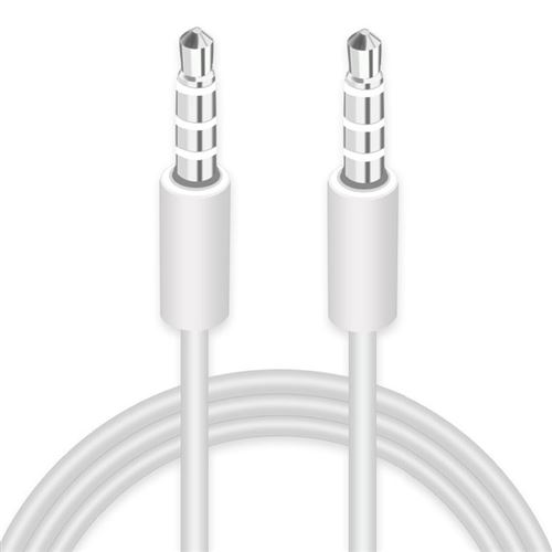 (#1) AUX Cable, 3.5mm Male Mini Plug Stereo Audio Cable for iPhone 1m(White)