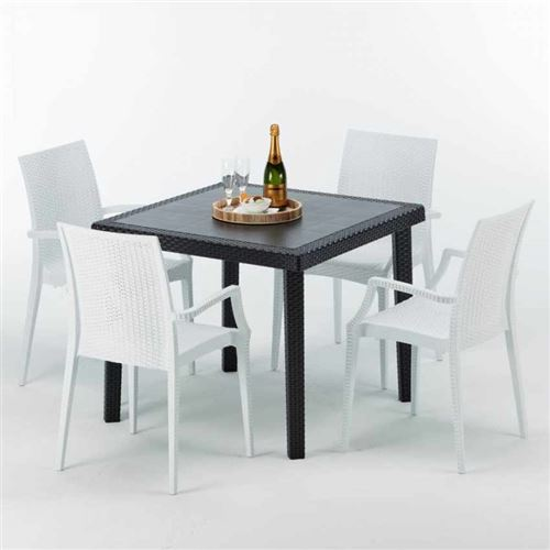 Table Carrée Noire 90x90cm Avec 4 Chaises Colorées Grand Soleil Set Extérieur Bar Café ARM BISTROT PASSION, Couleur: Blanc