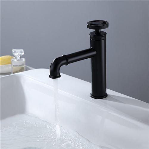 Robinet mitigeur lavabo salle de bain style rétro - Noir
