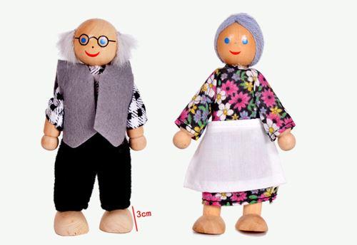 Meubles en bois Maison de poupées Famille miniature 6 Pièce Set Poupées pour Enfants