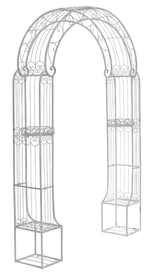 Arche à rosiers Alessia en fer forgé , Blanc antique