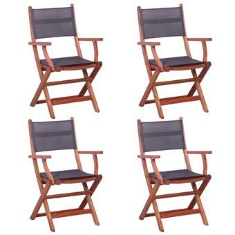 Chaises D'extérieur D'eucalyptus Textilène Vidaxl 4 Bois Gris Et Pcs NnOX0P8wk