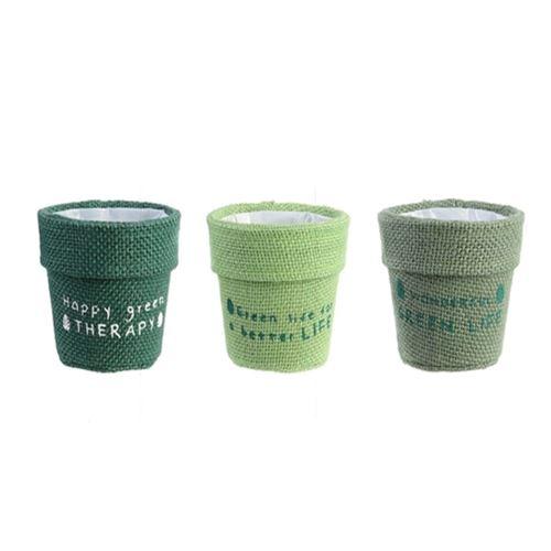 Lot de 3 cache-pots en jute plastifié Little Garden - Diam. 13 cm - Vert