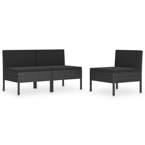 Chaises de jardin 3 pcs avec coussins Noir