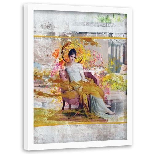 Feeby Tableau Décoration murale cadre blanc Image encadrée, Dame dans une chaise 50x70 cm
