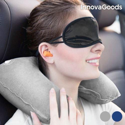 Accessoires de détente de voyage masque et coussin et bouchon d'oreille - Confort pour voiture, voyage avion Couleur - Gris